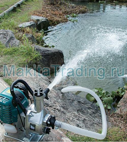 перекачка воды из пруда мотопомпой makita ew1060hx
