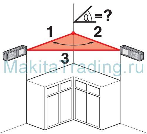 Измерение угла по сторонам треугольника Макита ld080p