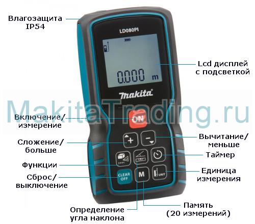 Лазерный дальномер Макита ld080pi